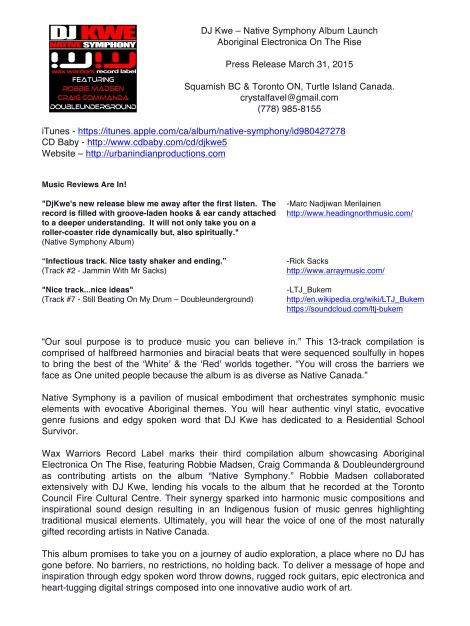 DJ Kwe - Native Symphony Press Release 2015